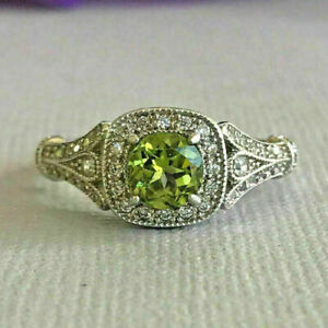 2.00Ct Round Cut Peridot 14K White Gold Over unique Halo Engagement Ring For Her