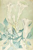 Dessin Ancien Original signé - Art Deco, Bouquet de Fleurs 1923
