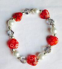 NewBeautiful Ruby Red millefiore Heart And Silver Twinkle Crystal  Bracelet