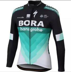 READY STOCK NEW Long Sleeve Men's BORA HANSGROHE BLACK CYCLING Jersey Breathable