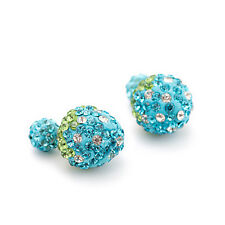 New Blue Strawberry Double Sided Crystal Rhinestone Big Beads Earrings Ear Studs