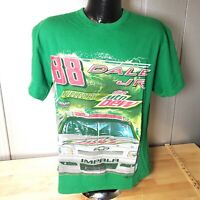 NASCAR DALE EARNHARDT JR Racing T SHIRT DIET MOUNTAIN DEW GREEN Chevy Impala
