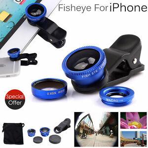 Fisheye Wide Angle Macro Clip On Camera Lens For iPhone 7 6s 6 Smartphones UK