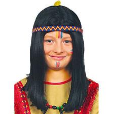 Perücke Indianer für Kinder mit Stirnband, schwarz Indianerperücke