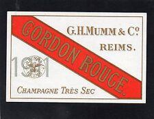 VIEILLE LITHOGRAPHIE CHAMPAGNE CORDON ROUGE GH MUMM & CO 1911 RARE    §4/11/16§