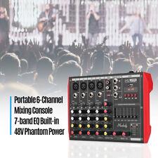 Mixer Console 6CH Audio Mixer Sound Digital Mixing Board 48V Phantom Power O5Z1