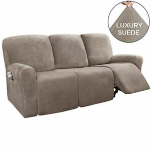 3 Seater Elastic Recliner Chair Covers Suede Armchair Sofa Chair Cover Slipcover