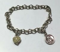 STERLING SILVER CHARM Link BRACELET 7 in. & 2 CHARMS Angel Heart 925 marked 11g
