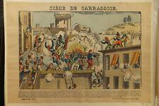 NAPOLEON (Espagne) SIEGE DE SARAGOSSE Gravure sur bois, coloris d'époque
