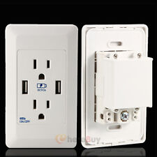 15 Amp 125 Volt Duplex Receptacle power outlet with Dual Usb Wall Charger Socket