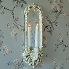 Cream Wall Mounted Sconce Ornate Mirror Candle Holder Rustic Shabby Vintage Chic
