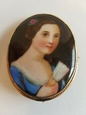 Young Victorian Girl Cameo Brooch Antique Porcelain Portrait Brooch Hand Painted