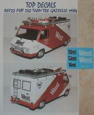 ADDITIF WEST FIAT 242 TEAM TRE GAZZELLE LANCIA 037 1984 ALTAYA TOP DECALS 1/43