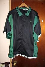 Reebok Men's Black & Green Basketball Button Front Warm Up Top Size Xl Vintage