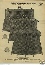 1912 PAPER AD 4 PG Chatalaine Mesh Hand Bag Purse German Silver