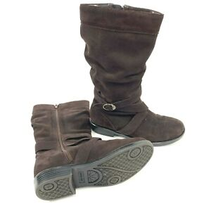 Stride Rite Girls Dakota Brown Suede Leather Tall Boots, 4M 12 Inch YG26758