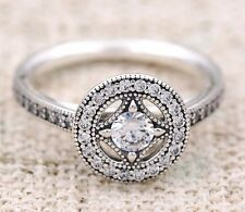 Vintage Allure Style Cz Crystal Ring Silver Plated Size 52