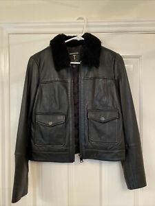 Ted Baker Leather Jacket With Fur Collar Size 10 Black Never Worn