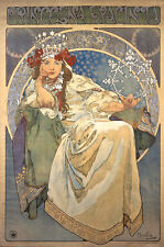 Prinzessin Hyazinthe Aufdruck Alfons Mucha Jugendstil GROßE A3 Größe Poster
