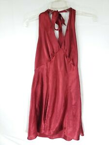 Fredericks Of Hollywood Womens Size Large Maroon Tie Behind Neck Nightgown