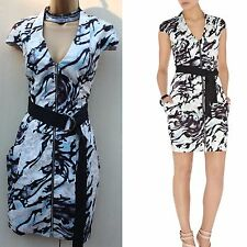 Karen Millen Black Blue Grey Zebra Graphic Print Mini Shirt Summer Dress S-12