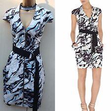 Karen Millen Black Blue Grey Zebra Graphic Print Mini Shirt Summer Dress S-12