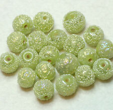 20 Costume Indiano Perline Vetro Rotondo 10mm Verde/ZUCCHERO SATINATO/AB (BBB602)