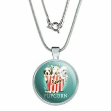 """Pupcorn Movie Theater Popcorn Dogs 1"""" Pendant w/ Silver Plated Chain"""
