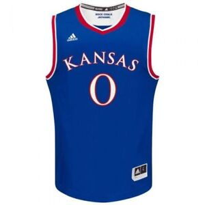 KANSAS JAYHAWKS NCAA (ADIDAS) BASKETBALL REPLICA JERSEY #0 BLUE SZ XXL 2XL NWT