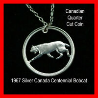 Cut Coin 1967 Canada Bobcat Quarter Charm Necklace