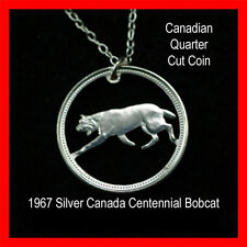 Cut Coin 1967 Canada Bobcat Quarter Charm Necklace