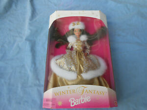 MATTEL 15530-BARBIE DOLL-WINTER FANTASY-GOLD BALL GOWN-BRUNETTE-1995-NIB