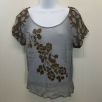 Anthropologie Moulinette Soeurs 2 Shirt Top Blouse Blue Brown Floral Embroidered