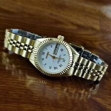 Womens Geneve Swiss 14K Gold Plated Presidential Day Date Watch Fluted Bezel
