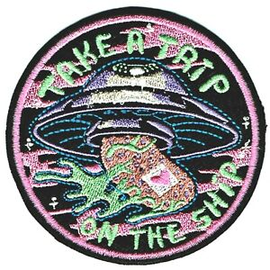 ⫸ TAKE A TRIP UFO Mushroom Shroom Embroidered Iron-on Patch Psychedelic  NEW D9