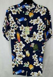 Caribbean S/S Big & Tall Hawaiian Shirt in 100% Rayon MSRP $79 NWT COOL! - 2XB