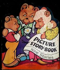 PICTURE STORY BOOK ~ Vtg Children's 9 Stories Lithographs ~Red Hen, Billy Goats+