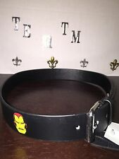 New Wt Marvel Comics Boy's Large Black Faux Leather Iron Man Head Belt