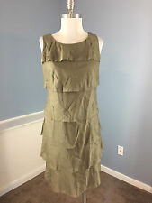 New TALBOTS M 8 P Olive Green Tiered Shift Dress Career Cocktail