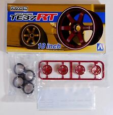 "Aoshima 1/24 Rays Volk TE37 RT 18"" Wheel & Tire For Plastic Models 5302 (24)"