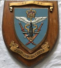 Military WOODEN SHIELD / WALL PLAQUE Hand Painted 55 FST 1975 Paras India Army