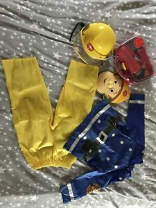 Fireman Sam Costume, Mask, Helmet And Fireman Playset age 3-5 years.