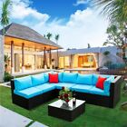 5pc Rattan Wicker Sectional Cushioned Sofa Set Table Patio Garden Furniture Set