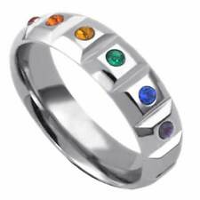 Gay Pride Lesbian Stainless Steel Rainbow Ring Stone Enrusted
