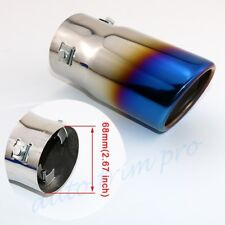 "Blue Universal 68mm 2.7"" Inlet Auto Tail throat Muffler Exhaust Rear Pipe Cover"