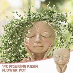 1x Girls Face Head Flower Planter Succulent Plant Flower Flowerpot G9E8