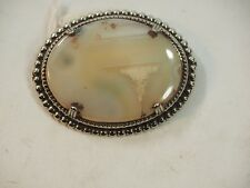 Vintage Idaho Agate Pin Broche Sterling Silver