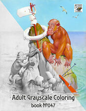 Adult Coloring Book (24 pages) Funny Monkeys Vintage Cartoon FLONZ grayscale 047