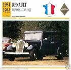 RENAULT PRIMAQUATRE 1931 1933 CAR VOITURE FRANCE CARTE CARD FICHE