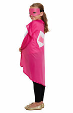 Childs Super Hero Costume - Pink - Fancy Dress Up World Book Day Mask Cape
